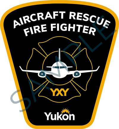 Sample badge for Government of Yukon aircraft rescue fire fighters