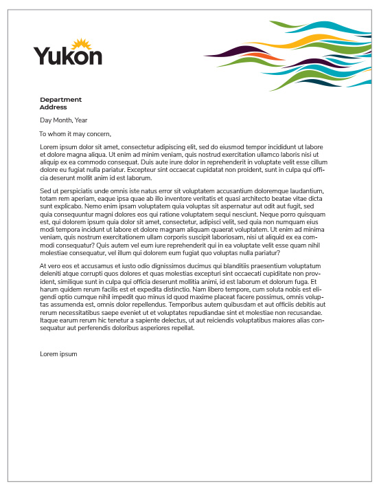 See an example of colour letterhead that can be used by all government staff