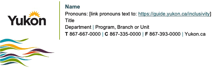 See an examples of an email signature with a supporting graphic